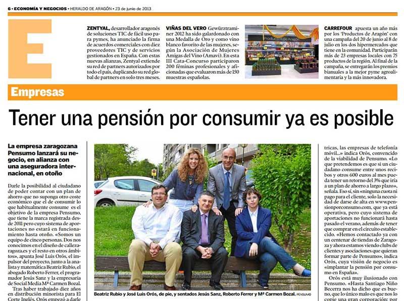 Economia y negocios Pensumo Heraldo de Aragón